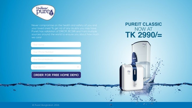 Pure it Landing page